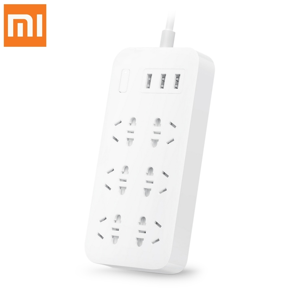 Original Xiaomi Smart Power Strip 2.1A Fast Charging 3 USB Extension Socket Plug 6 Standard Socket Adapter US UK EU AU original xiaomi power strip smart home electronics fast charging 3 usb 2 0 interface extension socket plug with eu uk au adapter