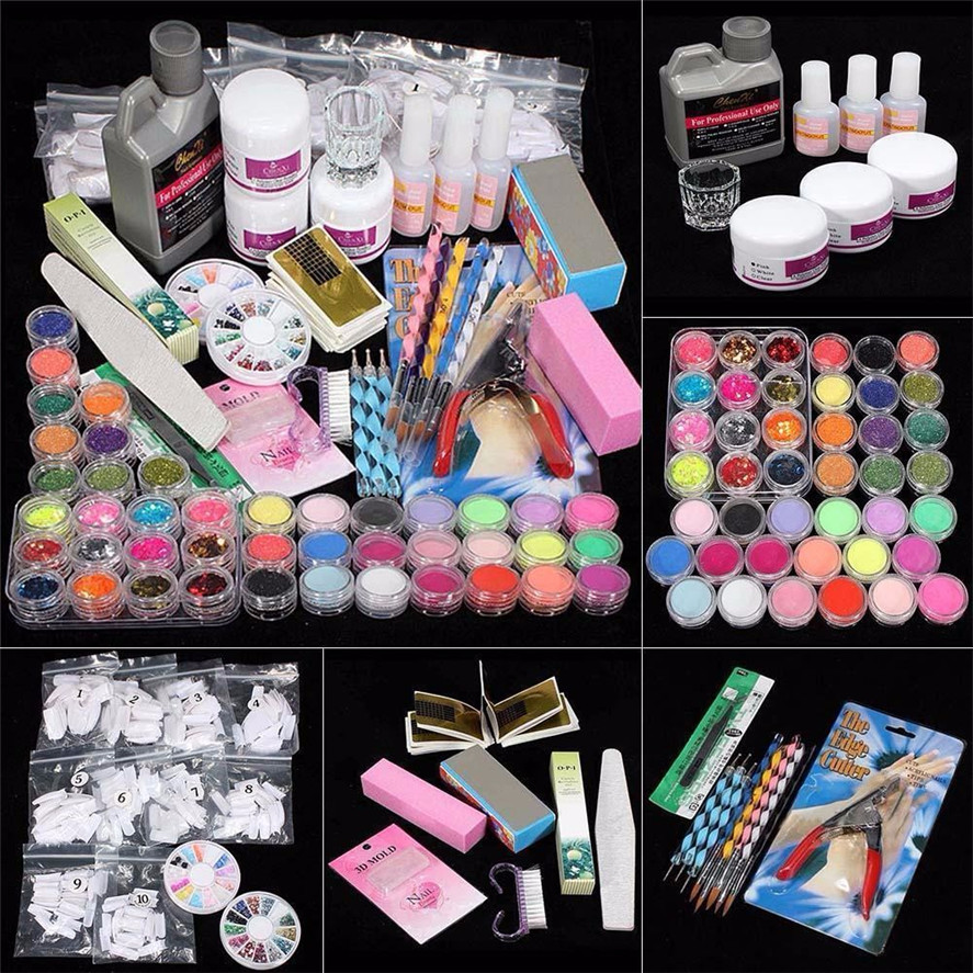 New Arrival 21 in 1 Professional Acrylic Glitter Color Powder French Nail Art Deco Tips Set Nail Art Set Manicure Tool Kit mioblet 2g box mirror effect nail glitter powder shiny rose gold purple mirror chrome powder dust nails art pigment diy manicure
