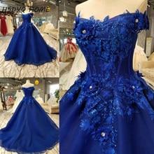 9917fe4fce HSDYQ CASA azul Royal vestidos De Casamento de luxo 3D Flor do  Assoalho-Comprimento Vestidos De Novia vestido de casamento Surpr.