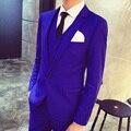 Royal Blue Tuxedo 2016 Nueva Llegada Últimas Bragas de la Capa Diseños de Vino Rojo Negro Traje Mariage Homme Trajes de Boda para Hombres