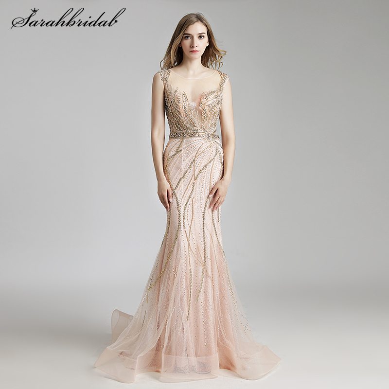 Real Photos Latest Luxury Styles Elegant Long Mermaid   Evening     Dresses   Crystal Party Gowns Formal Robe De Soiree LSX428