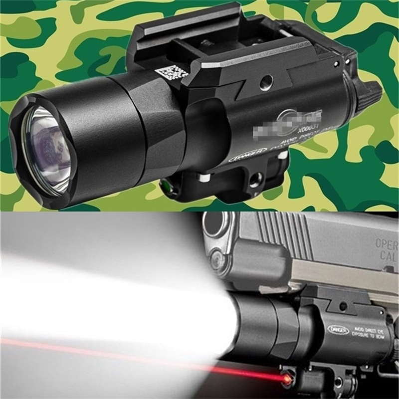 NEW Tactical SF X400 Ultra Night Evolution Pistol Light with Red Laser Tactical Weapon Flashlight Fit 20mm Picatinny Weaver rail hunting compact tactical green laser sight flashlight combo low profile pistol handgun light with 20mm picatinny rail