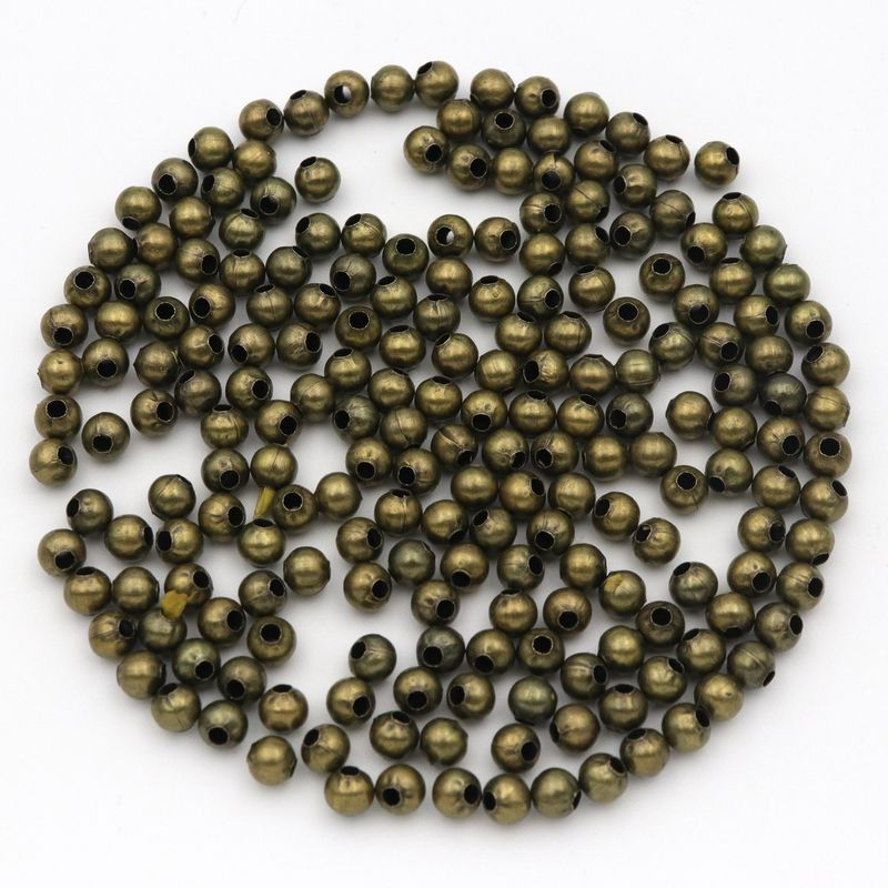 300Pcs Gold Plated Smooth Round Ball Copper Crimp Beads Charms 3mm