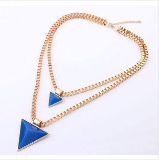 Ahmed Fashion Jewelry Newest European Triangular Geometry Double Exaggerated High-grade statement Necklaces For Women S-082