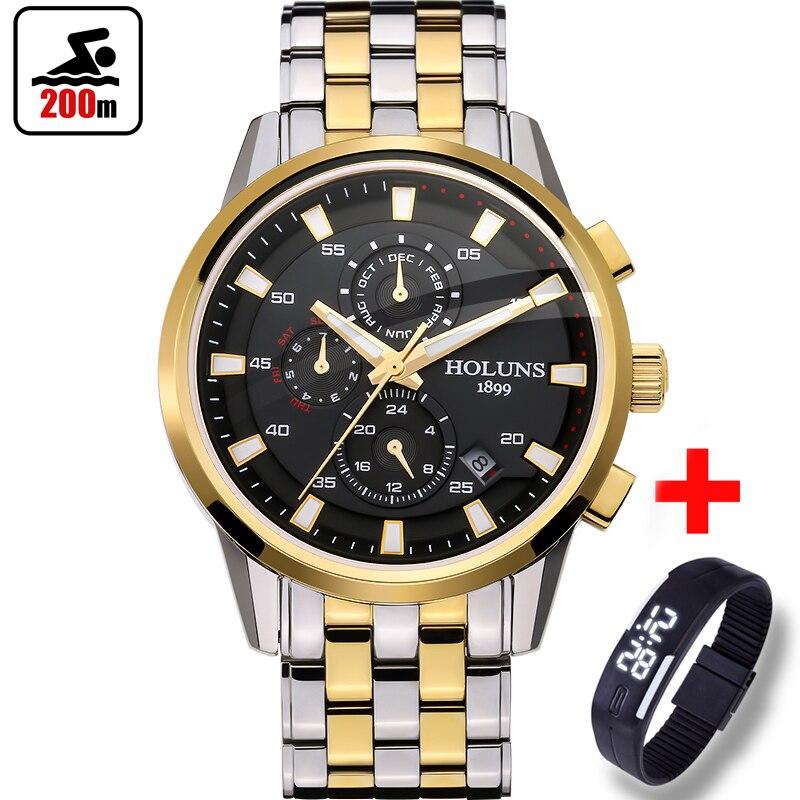 200 м водостойкий лучший бренд класса люкс Полный стали часы мужские деловые повседневные наручные часы автоматические механические Военны...