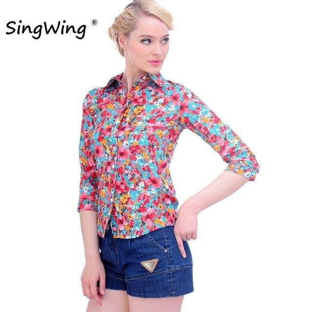 703b9a2ef18 Singwing Женская хлопковая блузка рубашки отложной воротник с цветочным  принтом рубашки три четверти рукав блузки высокого