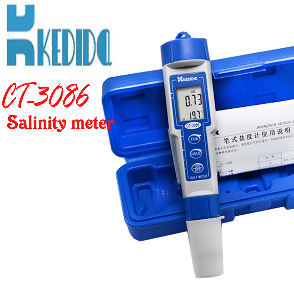 CT-3086 Salt Meter ,Water Salinity Tester, Pen type digital salt meter range:0.0%-5.0% ATC (auto temperature compensation) digital one touch operation pen type 0 99 9% range skin and facial face moisture analyzer tester