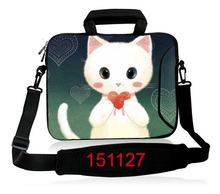 White Cat Beautiful 12 14 15 17 15.6 17.three Inch Laptop Laptop computer Mushy Pocket book Pill Bag Baggage Case Messenger Shoulder for Males Girls