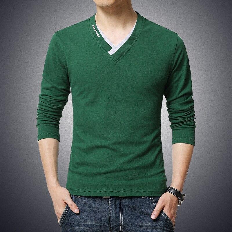 Spring Summer Men Tshirt Large Size Cotton V-Neck Tshirt Men