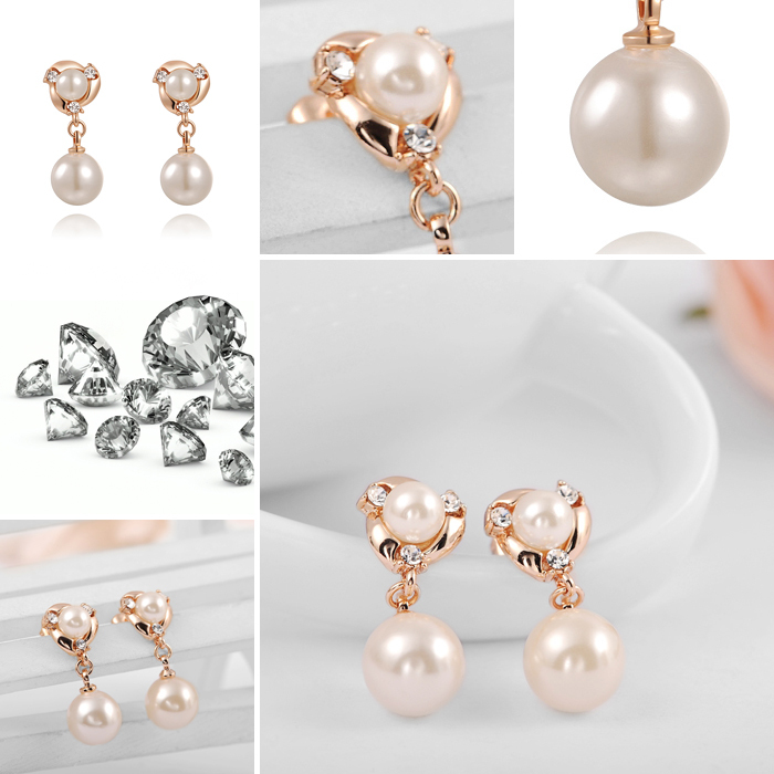 77fca74141d625 Fashion rose gold double pearl earrings for women Austrian crystal big  pearl earring brincos grandes pendientes-in Stud Earrings from Jewelry &  Accessories ...