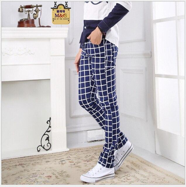 Free Shipping The New Spring 2015 Men's Fashion Personality Plaid Pants Men Leisure Feet Pants
