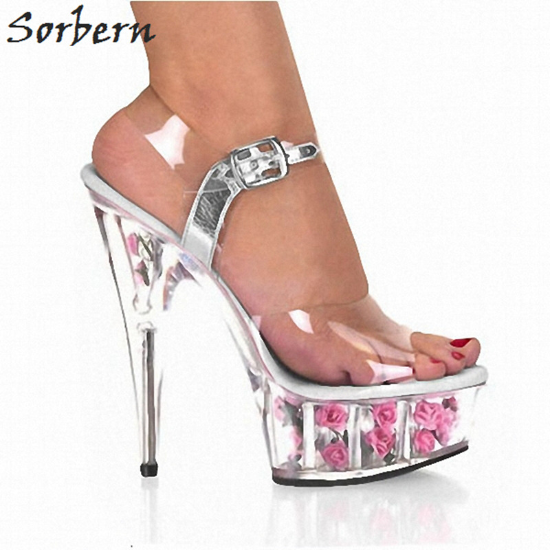 Sorbern 2018 Women Sandals 15CM Spike Heels PVC Fashion Flower Ladies Party Shoes Real Image Peep Toe Sandals Women Party Shoes sorbern women sandals wedges shoes peep toe ladies party shoes elastic band peep toe plus size designer luxury women shoes