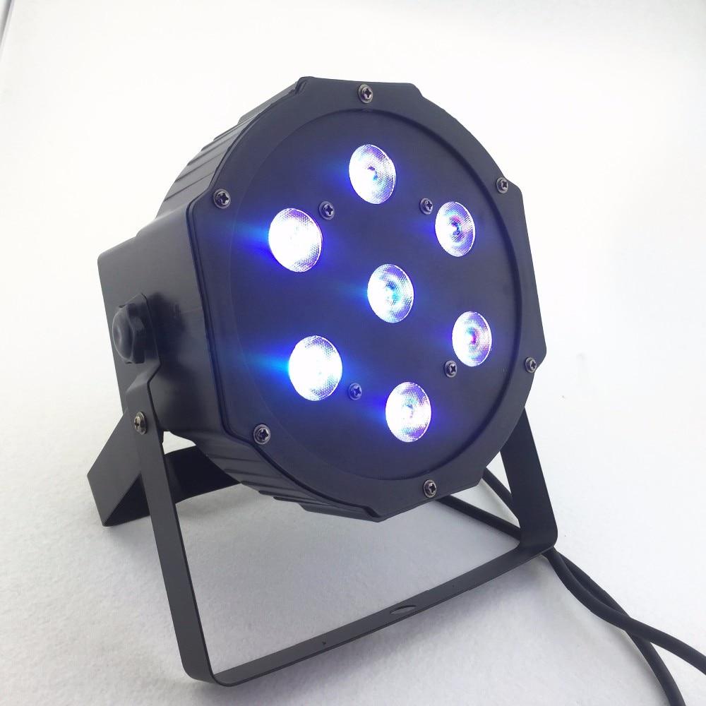 New Seller 7x12w led Par lights RGBW 4in1 flat par led dmx512 disco lights professional stage dj equipment in Stage Lighting Effect from Lights Lighting
