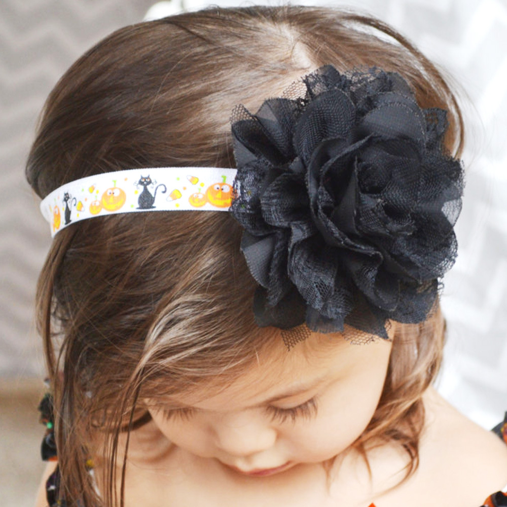 20pcs/lot black lace flowers halloween hair headbands for hair crown