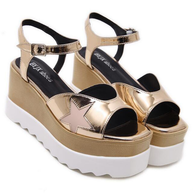 2017 Patent leather Wedges Platform Shoes Women Fashion Summer Open Toe Sandals Height Increasing High Heels Gladiator Sandals women sandals 2017 summer style shoes woman wedges height increasing fashion gladiator platform female ladies shoes casual