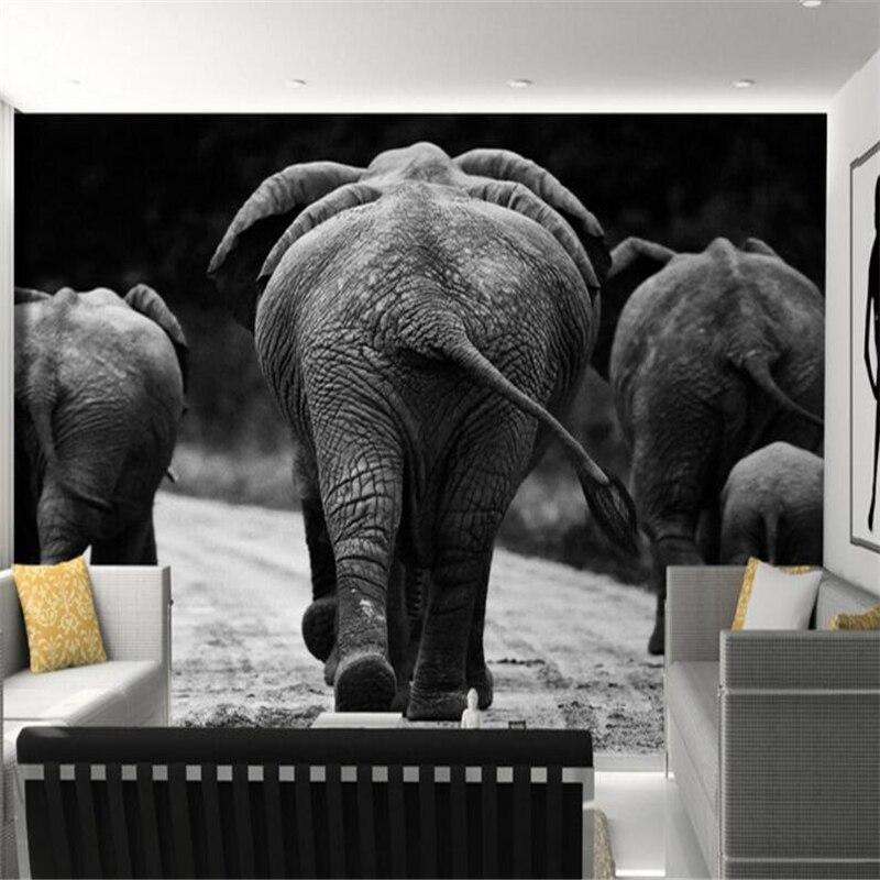 US $8.85 41% di SCONTO|Beibehang HD in bianco e nero elefante spalle foto  sfondi 3D soggiorno camera da letto pittura decorativa carta da parati per  ...