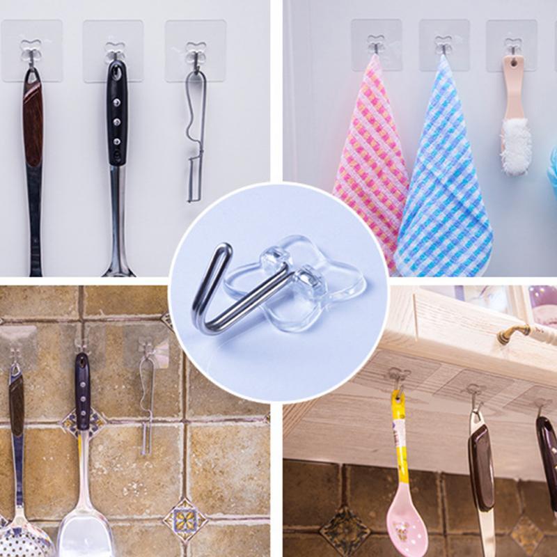 2pcs/lot Bathroom Hooks Wall Strong Paste Hook Stick Transparent Removable Home Key Towel Hanger Holder Bathroom Kitchen Hooks