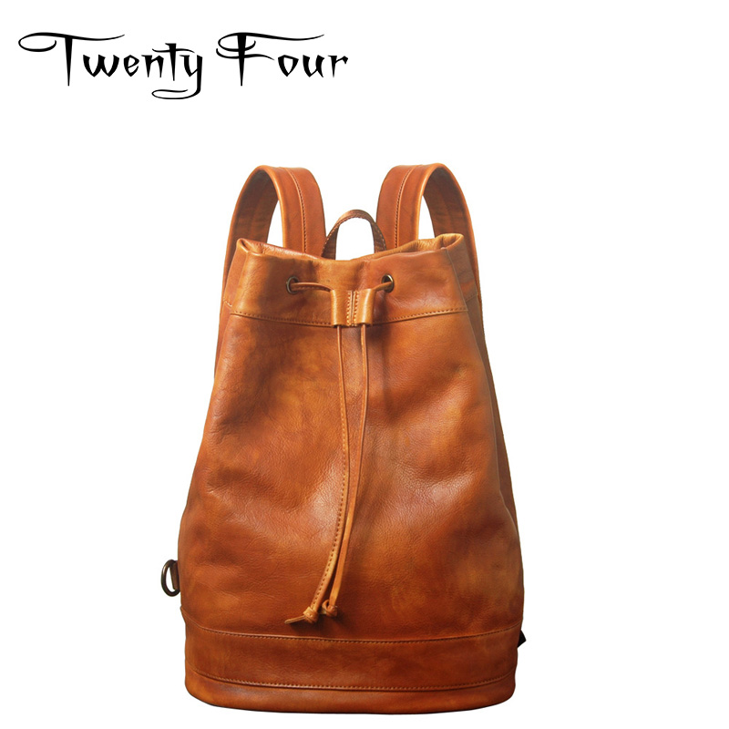 Twenty-four Women Backpacks Genuine Leather Ladies Travel Backpack For Teenagers Girls Bucket Bag Vintage Real Leather Mochilas twenty four women backpacks genuine leather ladies travel backpack for teenagers girls bucket bag vintage real leather mochilas