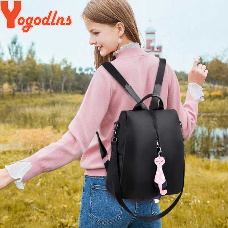 Yogodlns Ransel Wanita 2020 Fashion Tas Oxford Warna Solid Tas Ransel Wanita Tas Ransel Kecil dengan Kucing Liontin