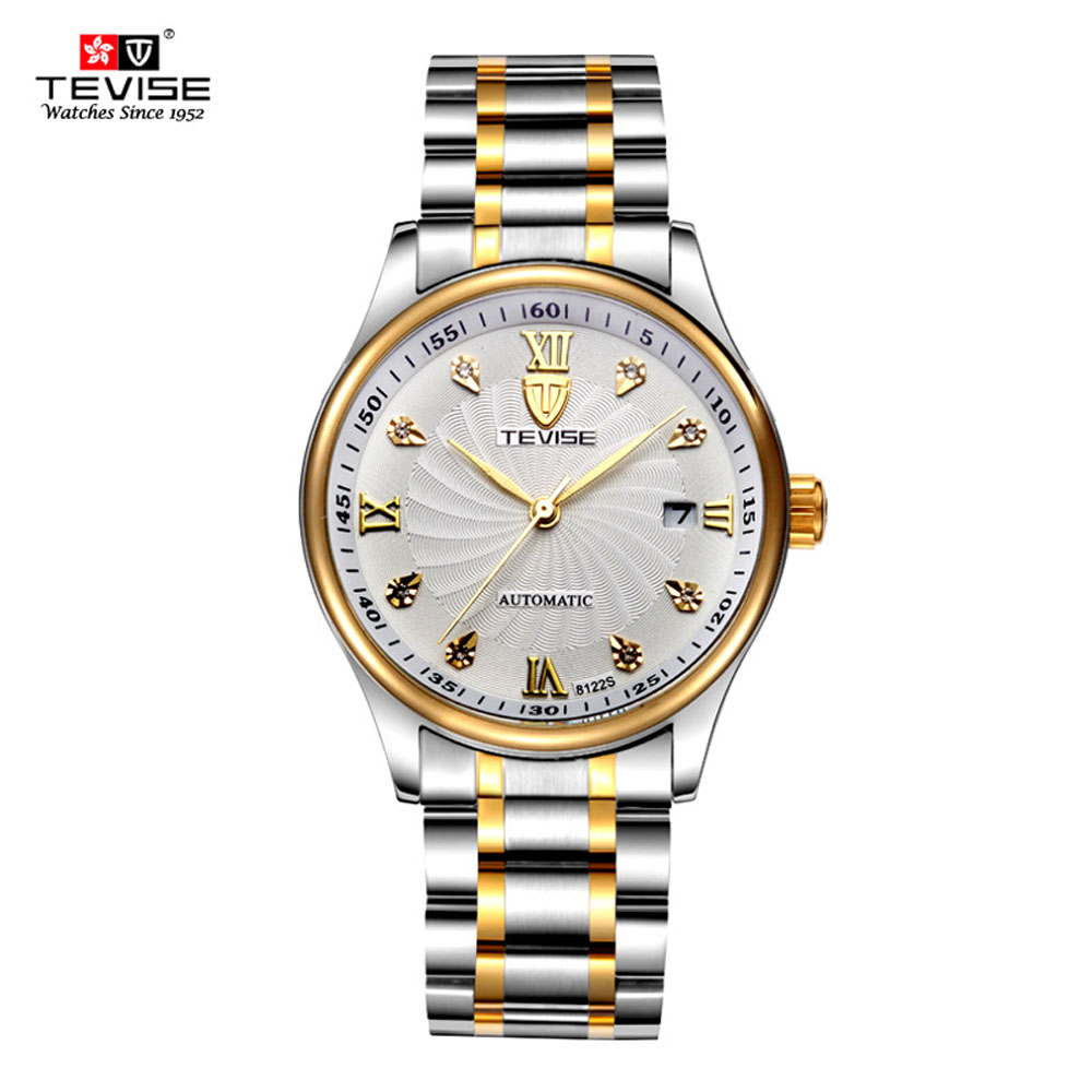 TEVISE Business Mechanical Watches Waterproof Stainless Steel Band Rhinestone Wristwatches Men New Luxury Watch Man Clock tevise fashion mechanical watches stainless steel band wristwatches men luxury brand watch waterproof gold silver man clock gift