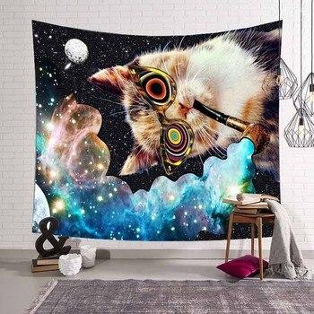 Lannidaa Kedi Psychedelic Goblen Dekor Hippi Goblen Mandala Duvar Asılı Belçika Baskılı duvar bezi Halılar Manta Perde
