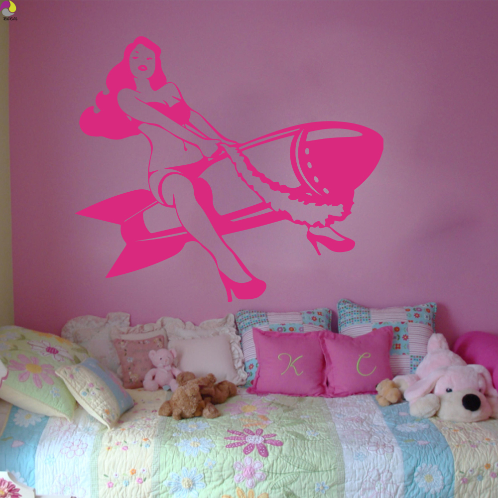 Y Pinup Riding A Wall Sticker Bedroom Living Room Beautiful Woman Weapon Film Decal