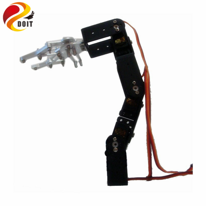 DOIT 4 Axis Robotic Arm Vehicle-mounted Robotic Manipulator for Smart Robot Chassis+Mechanical Claw+4PCS High Torque Servos robot digital servo 17kg 270 degree ld 3015mg high torque metal gear for manipulator mechanical arm robotic