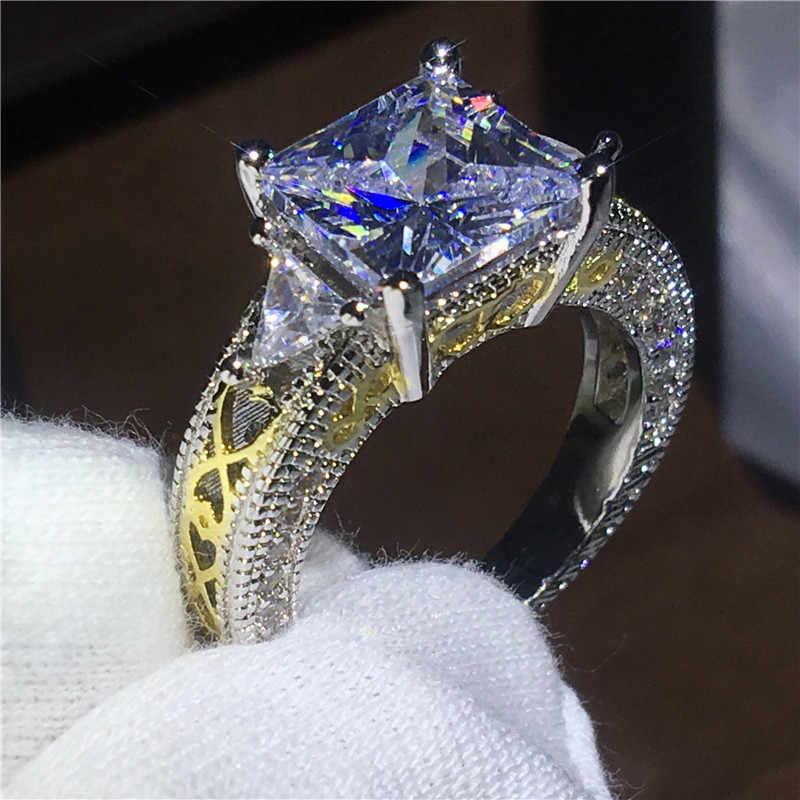 Vintage เครื่องประดับเจ้าสาว 925 เงินสเตอร์ลิงแหวนเจ้าหญิงตัด AAA Zircon cz แหวนหมั้นแหวนของขวัญ