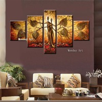 5Pcs Hand painted large Abstract Oil Painting On Canvas tree painting gray Wall canvas picture for living room Home Decoration