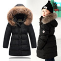 2016 Girls Winter Coat Chidren natural hair collar Long Jackets Kids Winter Duck down Jackets for Girls clothes kids Outerwear