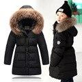 2016 Meninas Casaco de Inverno Chidren cabelo natural collar Longas Jaquetas Crianças Pato Inverno para baixo Casacos para As Meninas roupas crianças Outerwear