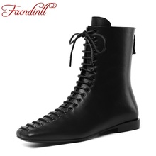 FACNDINLL women shoes new autumn winter women ankle boots shoes genuine leather med square heels black riding motorcycle boots недорого