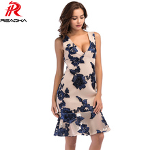 2018 элегантный цветочный Вышивка Лето Кружево платье Для женщин спинки Глубокий v-образным вырезом сарафан без рукавов тонкий сексуальный Платье для вечеринки