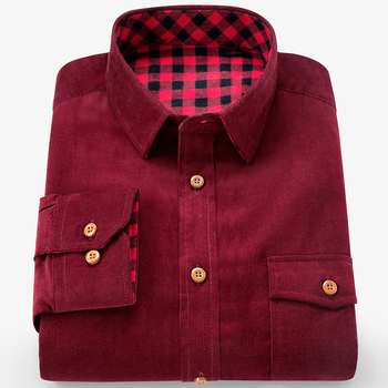 Brand 100% Cotton Corduroy Mens Dress Shirts Solid Color Men Thickening Long Sleeve Flannel Casual Shirt Men Camisa