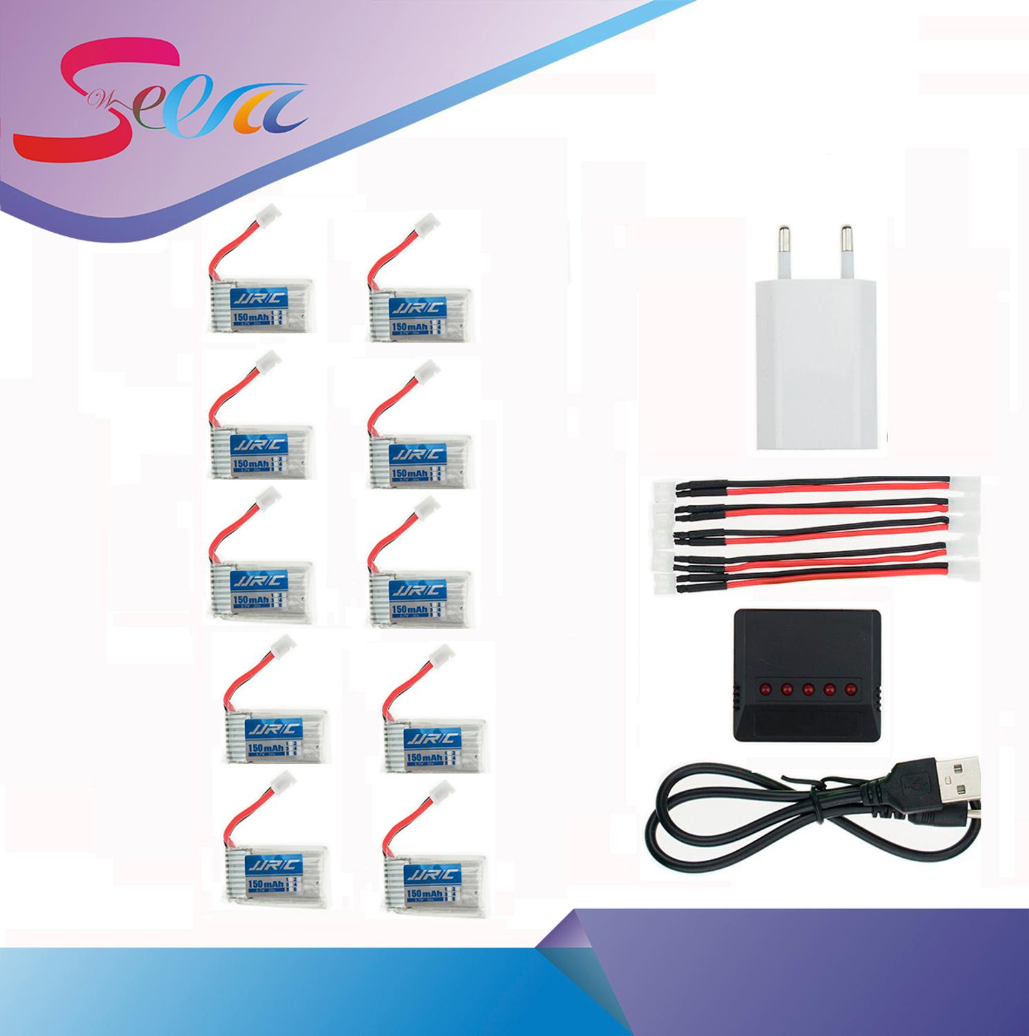 10pcs 3 7V 150mah Lipo Battery With 5 in 1 Black Balance Charger Plug Set For