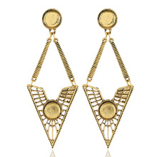 2019 Promotion Brinco Cross-border New Retro Earrings Euramerican Fashion Contracted Hollow Out Geometric Triangle Exaggerated недорго, оригинальная цена