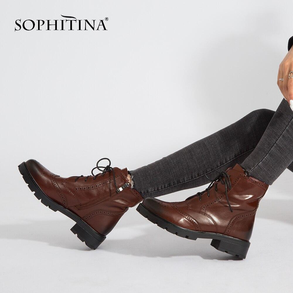SOPHITINA nouvelles femmes bottes en cuir de vache fermeture à glissière bout rond talon carré hiver cheville chaussures à la main mode à pois bottes M98-in Bottines from Chaussures    1