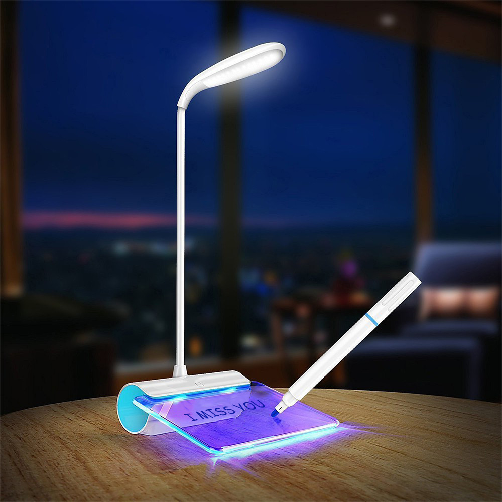 Rechargeable Desk Lamp DC 5V USB LED Light With Message Board Touch Switch Table Luminar ...