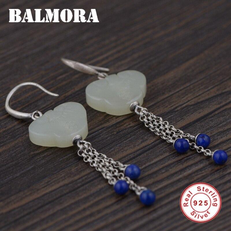 BALMORA 925 Sterling Silver Tassel Drop Earrings for Women Retro Earrings Jewelry Lapis Lazuli Accessories Brincos TRS30976 цены онлайн