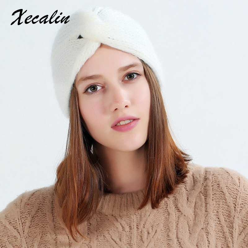 0bbc24c112c48 ... Xecalin 2018 Winter hats Women off White Knitted Beanie Female Warm  Yellow Caps Streetwear Gorros Mujer ...