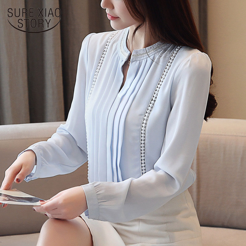2019 spring new women tops sweet chiffon women   shirts   long sleeve OL   blouses     shirt   solid white   blouse   Hollow out blusas 2074 50