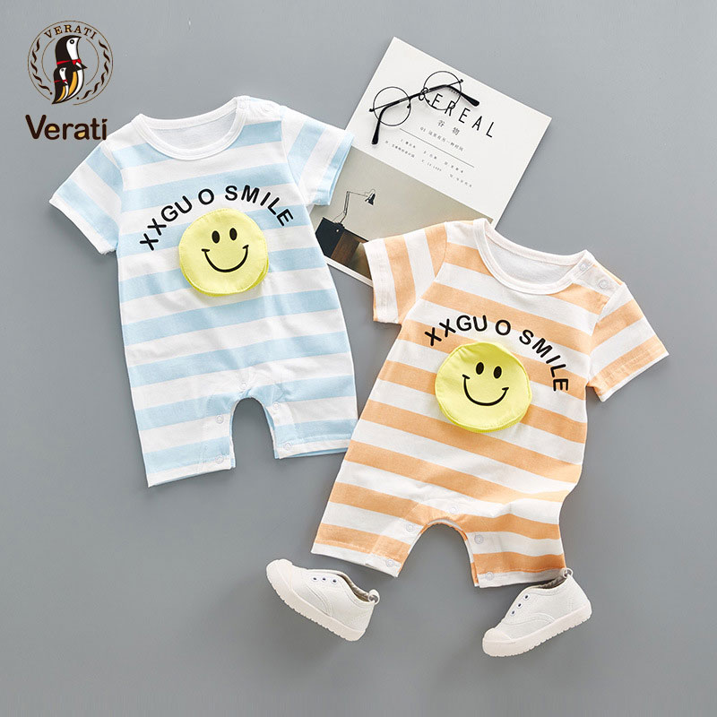 VERATI Childrens Onesie 2018 new summer 3D smiley Striped Baby Boys romper Cotton newborn short-sleeved Soft Overalls V067