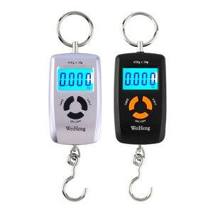 Портативные цифровые электронные весы, белые весы с ЖК-дисплеем, 45 кг/10 г, для багажа, для подвешивания рыболовных крючков, весы для весов фун...
