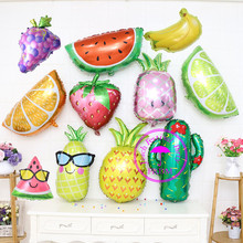 foil orange balloons for party supplies baby birthday decoration fruit banana grape pineapple watermelon strawberry