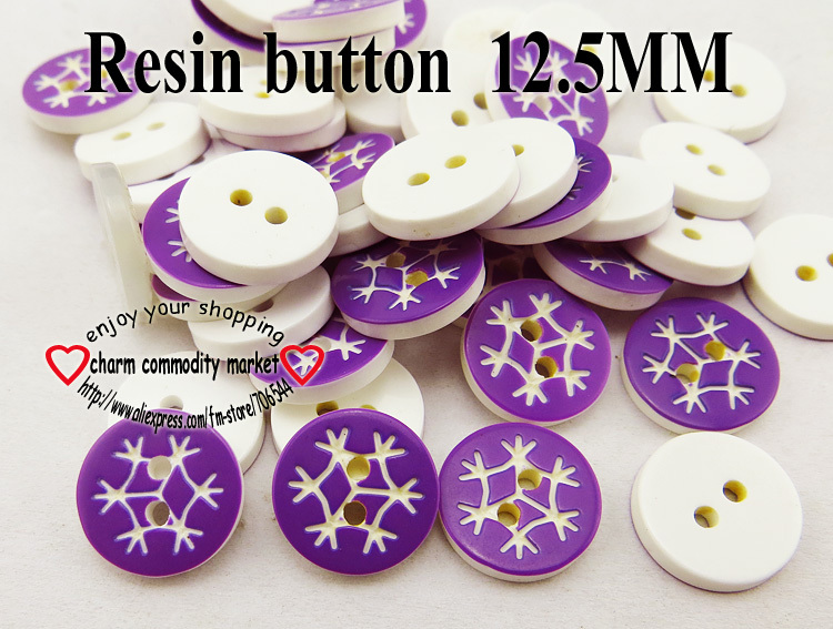 100PCS 12.5MM Snowflake pattern purple Dyed RESIN buttons coat boots sewing clothes accessories R-193