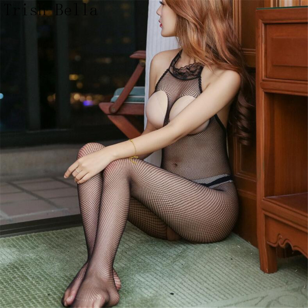 Transparent Hollow Out Small Mesh Net Clothing Fishnet Lingerie Bodystocking Body Sexy Costumes Catsuit Body Suit Open Crotch