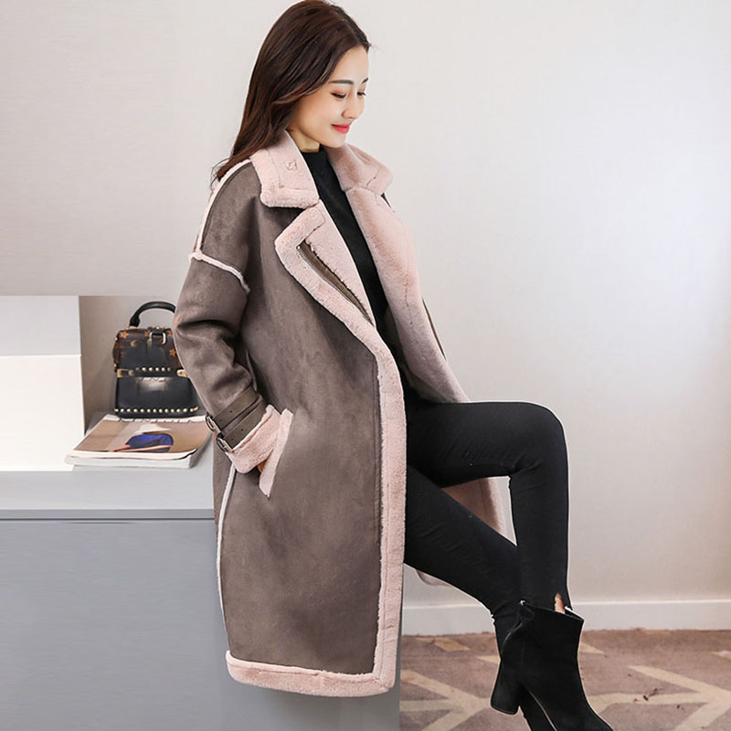 2019 Winter female Suede Leather Jacket Women long Lamb Wool Motorcycle Jacket Thick Lambs Wool Warm zip Coat outerwear