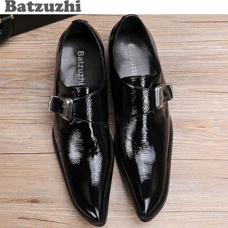Hebilla Batzuzhi Para Ayuda Boda Black 02 Cuero Baja Hombre Japonés Negro Moda Toe Vestido Cuadrados negocios Calzado black Zapatos Estilo De Hombres 01 ppwrqY6