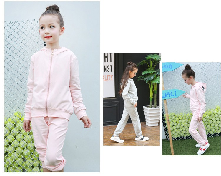 2016 character tracksuits childrens clothing for girls kids hooded hoodies coats pants girl clothes suits gray pink sports sets  5 6 7 8 9 10 11 12 13 14 15 16 years old little big teenage girls clothing set (5)