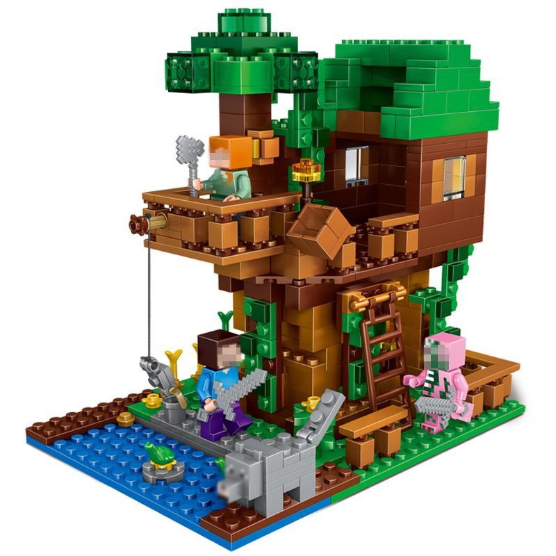 My World The Tree House Compatible Building Blocks 406Pcs Minecrafted Brick My Craft Figures Kids Educational Toys the shade of my own tree